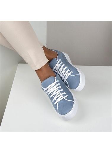 OKHU SHOES Kadın Süet Bağcıklı Günlük Sneaker Spor Ayakkabı Mavi